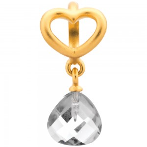 Endless Jewelry Clear Heart Grip Drop Gold Plated Charm 53302-1