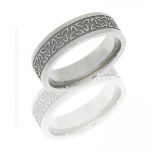 Lashbrook 7FTRINITYU SATIN-POLISH Titanium Wedding Ring or Band