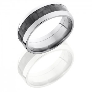 Lashbrook C8D14-CF Polish Titanium Carbon Fiber Wedding Ring or Band