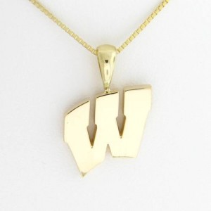 "University of Wisconsin Motion ""W"" 14 Kt Yellow Gold Pendant Med"