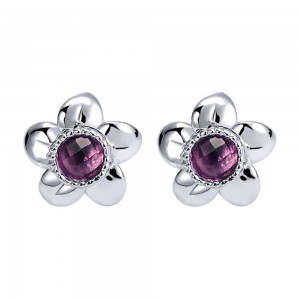 Gabriel Fashion Silver Floral Stud Earrings EG11671SVJAM