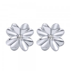 Gabriel Fashion Silver Floral Stud Earrings EG11676SVJWS