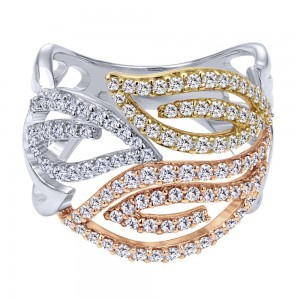 Gabriel Fashion 14 Karat Two-Tone Lusso Diamond Ladies' Ring LR5197M45JJ