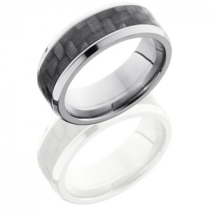 Lashbrook C8B15-CF(NS) Polish Titanium Carbon Fiber Wedding Ring or Band