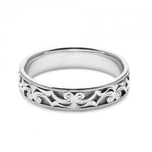 Tacori Platinum Hand Engraved Wedding Band HT2403