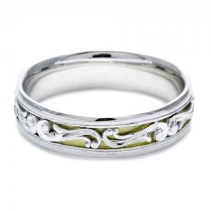 Tacori HT2387Y 18K / Platinum Hand Engraved Wedding Band