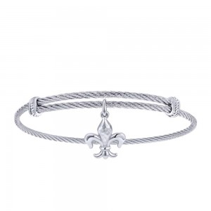 Gabriel Fashion Silver Two-Tone Soho Bangle Bracelet BG3584MXJJJ