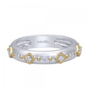 Gabriel Fashion 14 Karat Two-Tone Stackable Stackable Ladies' Ring LR5661M45JJ