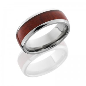 Lashbrook HW8D15/REDHEART POLISH Hard Wood Wedding Ring or Band
