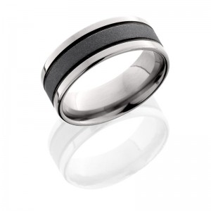 Lashbrook 8F21A SANDBLAST-POLISH Titanium Wedding Ring or Band