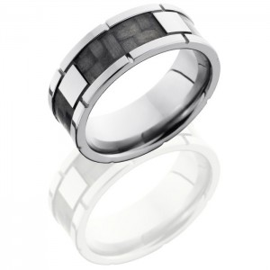 Lashbrook C8F4SEG-CF Polish Titanium Carbon Fiber Wedding Ring or Band