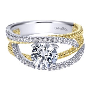 Gabriel 14 Karat Contemporary Engagement Ring ER5363M44JJ