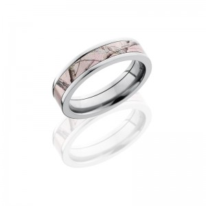 Lashbrook CAMO5F14-PINKRTAP POLISH Camo Wedding Ring or Band