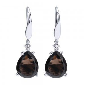Gabriel Fashion Silver Color Solitaire Drop Earrings EG11737SVJMC