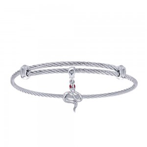 Gabriel Fashion Silver Two-Tone Soho Bangle Bracelet BG3586MXJRA