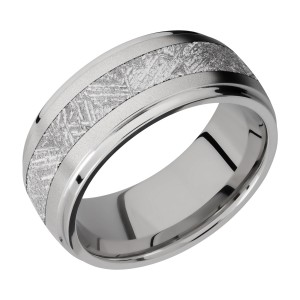 Lashbrook 9DGE14/METEORITE Titanium Wedding Ring or Band
