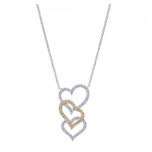 Gabriel Fashion 14 Karat Two-Tone Eternal Love Heart Necklace NK855M44JJ