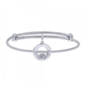 Gabriel Fashion Silver Two-Tone Soho Bangle Bracelet BG3585MXJJJ