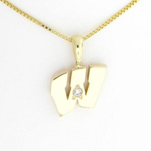 "UW Motion ""W"" 14 Kt Yellow Gold Pendant - Small with Diamond"