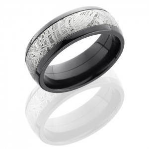 Lashbrook ZPF8D15-Meteorite Polish Zirconium Meteorite Wedding Ring or Band