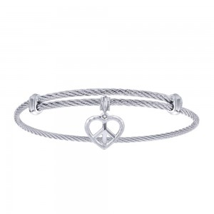 Gabriel Fashion Silver Two-Tone Soho Bangle Bracelet BG3581MXJJJ