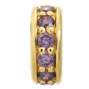 JLo Collection Endless Jewelry Dreamy Dot Gold Plated Amethyst Cubic Zirconia Charm 1600-1