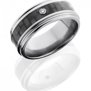 Lashbrook C9REF14-CFDIA.03B Polish Titanium Carbon Fiber Wedding Ring or Band