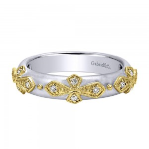Gabriel Fashion 14 Karat Two-Tone Stackable Stackable Ladies' Ring LR5704M45JJ
