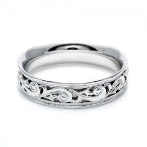 Tacori Platinum Hand Engraved Wedding Band HT2391