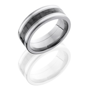 Lashbrook C8F1321-CFSS Satin Titanium Carbon Fiber Wedding Ring or Band