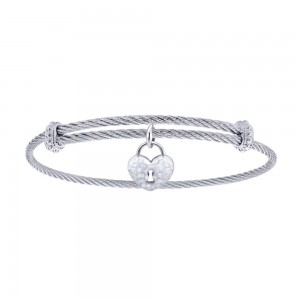 Gabriel Fashion Silver Two-Tone Soho Bangle Bracelet BG3576MXJJJ