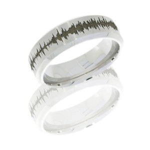 Lashbrook CC8HB-LCVSOUNDWAVE SATIN-POLISH Cobalt Chrome Wedding Ring or Band