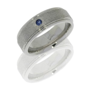 Lashbrook CC8REFSAPPH.07F STONE-POLISH Cobalt Chrome Wedding Ring or Band