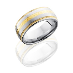 Lashbrook CC9D1221W-14KY14KYUMIL Hammer Inlay-Satin Cobalt Chrome Wedding Ring or Band