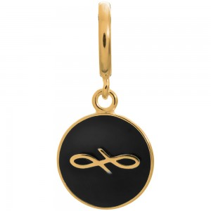 Endless Jewelry Black Endless Coin Gold Plated Charm 53345-6