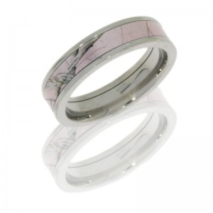 Lashbrook CAMO5F13/PINKRTAP POLISH Titanium Wedding Ring or Band
