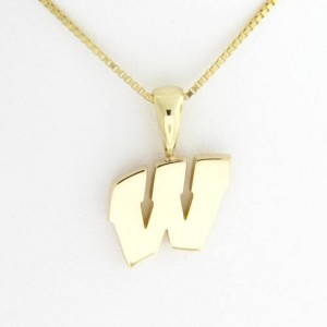 "University of Wisconsin Motion ""W"" 14 Kt Yellow Gold Pendant Sm"