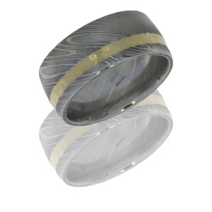 Lashbrook D10D12OC-14KY POLISH Damascus Steel Wedding Ring or Band