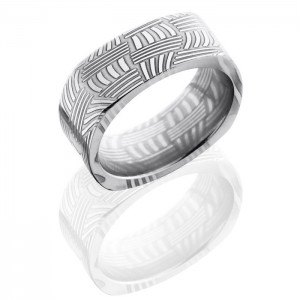 Lashbrook D8FSQBASKET Polish Damascus Steel Wedding Ring or Band