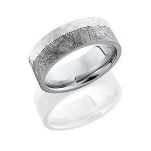Lashbrook CC8F15EDGE/METEORITE HAMMER Meteorite Wedding Ring or Band