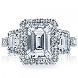 HT2527EC85X65 Platinum Tacori Blooming Beauties Engagement Ring