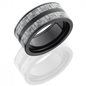 Lashbrook ZC10F23-SilverCF Satin-Polish Zirconium Carbon Fiber Wedding Ring or Band