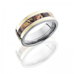 Lashbrook CAMO8F1321-RTAP14KY POLISH Camo Wedding Ring or Band
