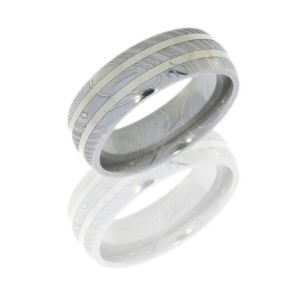 Lashbrook D7D21-14KW POLISH Damascus Steel Wedding Ring or Band