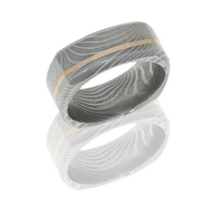 Lashbrook D8BSQFLATTWIST11OC-14KR POLISH Damascus Steel Wedding Ring or Band