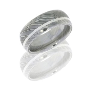 Lashbrook D8D11OC-SS POLISH Damascus Steel Wedding Ring or Band
