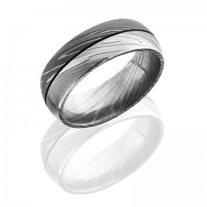 Lashbrook D8D1.5 ACID-BEAD Damascus Steel Wedding Ring or Band