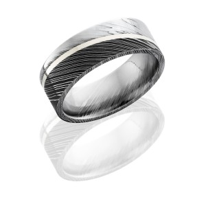 Lashbrook D8F11ANGLED/SS ACID/POLISH Damascus Steel Wedding Ring or Band