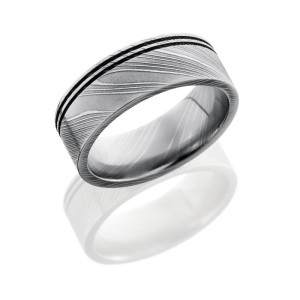 Lashbrook D8F2.5OC POLISH Damascus Steel Wedding Ring or Band