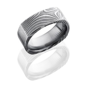 Lashbrook D8FSQFLATTWIST ACID Damascus Steel Wedding Ring or Band